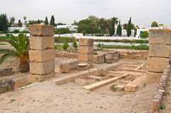Ruins of military port in Carthage Stock Images