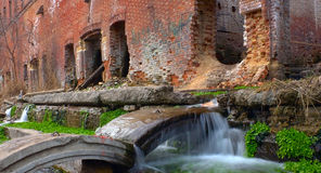 Ruins with mini-falls Royalty Free Stock Image