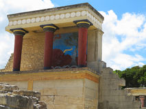 Ruins of the Minoan Palace of Knossos in Heraklion,Greece. Ruins of the Minoan Palace of Knossos in Heraklion, Crete, Greece Stock Photo