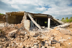 Ruins of modern buildings in the afternoon Royalty Free Stock Photo