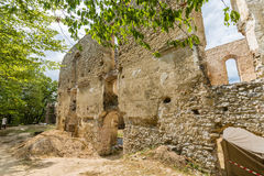 Ruins of Monastery Katarinka above the village of Dechtice, Slovakia. Ruins of Monastery Katarinka in the forests of the Carpathian Mountains above the village royalty free stock images