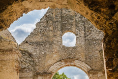 Ruins of Monastery Katarinka above the village of Dechtice, Slov. Ruins of Monastery Katarinka in the forests of the Carpathian Mountains above the village of royalty free stock images