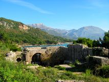 The ruins of the monestery of the Virgin Ratac. Montenegro Bar Ratac monestery ruins royalty free stock photo