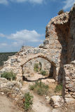 Ruins of Monfort Castle. Arced structures, crusader castle in western Galilee, Israel Royalty Free Stock Photos