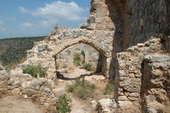Ruins of Monfort Castle, Israel. Ruins of Monfort castle arced structures, crusader castle in western Galilee, Israel Royalty Free Stock Photography