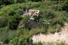 Ruins of Monfort castle, Israel. Ruins of Monfort castle, crusader castle in western Galilee, Israel Stock Photo
