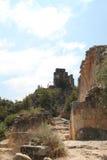 Ruins of Monfort Castle, Israel. Ruins of Monfort castle structures, crusader castle in western Galilee, Israel Royalty Free Stock Images
