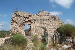 Ruins of Monfort Castle, Israel. Ruins of Monfort castle structures, crusader castle in western Galilee, Israel Stock Image