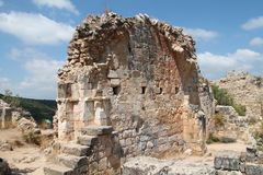 Ruins of Monfort Castle. Structure and stairs, crusader castle in western Galilee, Israel Royalty Free Stock Photography