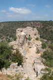 Ruins of Monfort Castle. Structures, crusader castle in western Galilee, Israel Stock Photos