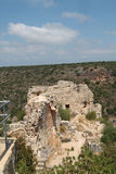 Ruins of Monfort Castle. Structures, crusader castle in western Galilee, Israel Royalty Free Stock Photo
