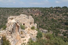 Ruins of Monfort Castle. Structures, crusader castle in western Galilee, Israel Stock Photo