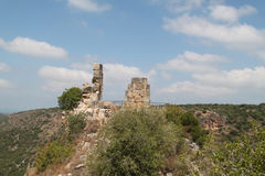 Ruins of Monfort Castle. Tower structure, crusader castle in western Galilee, Israel Royalty Free Stock Photography