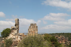 Ruins of Monfort Castle. Tower structure, crusader castle in western Galilee, Israel Stock Photography