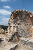 Ruins of Monfort Castle. Tower structure with stairs, crusader castle in western Galilee, Israel Stock Image