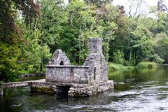 Monk`s fishing house at Cong Abbey, County Mayo, Ireland. Ruins of the Monk Fish House located in Cong, Ireland Royalty Free Stock Photography