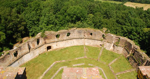 Ruins of Montaner fortification seen from tower Royalty Free Stock Photos