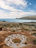 Ruins with mosaic in Cavo Matapan in Mani, Laconia, Peloponnese stock photos