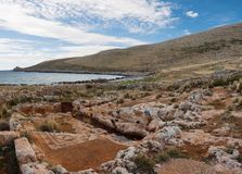 Ruins with mosaic in Cavo Matapan in Mani, Laconia, Peloponnese royalty free stock image