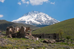 Ruins and Mount Hasan as background (Turkey) Royalty Free Stock Photos