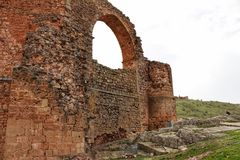Ruins in the mountain of the old aqueduct of Alcaraz, Albacete. Ruins views in the mountain of the old aqueduct of Alcaraz, Albacete Royalty Free Stock Image