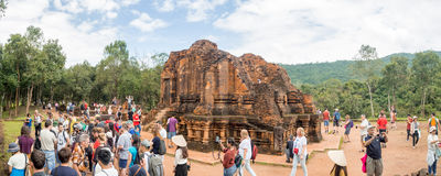 Ruins of My Son sanctuary complex, old Hindu temples in Vietnamese jungle : Ruins were severely damaged during the. Ruins of My Son sanctuary complex, old Hindu Royalty Free Stock Photography