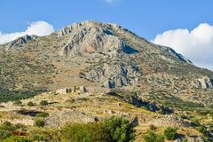 Ruins of Mycenae Citadel, Greece. stock photo