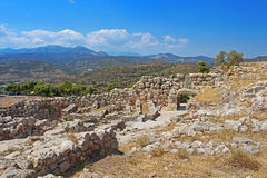 Ruins of Mycenae and green hills, valleys, Greece Royalty Free Stock Photos