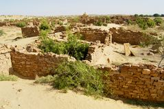 Ruins of the mysterious Kuldhara abandoned settlement in the desert near Jaisalmer, India. royalty free stock photography