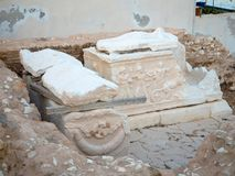 Ruins of a n ancient grave in Greece royalty free stock photography