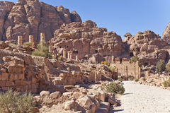 Ruins of the nabataean temple Stock Photos