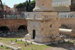 Ruins near base of Colonna Traiana in Rome Royalty Free Stock Photography