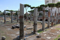 Ruins near Colonna Traiana in Rome, Italy Stock Images