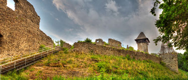 Ruins of Nevitskiy castle near Uzhgorod. Transcarpathian region, Ukraine Royalty Free Stock Images