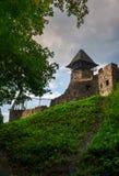 Ruins of Nevytsky Castle on grassy hill. Medieval fortress is popular tourist destination of TransCarpathia, Ukraine stock photography