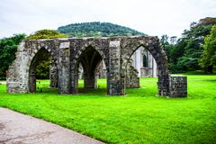 Ruins of the Norman Abbey at Margam Park stock photos