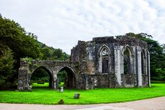 Ruins of the Norman Abbey at Margam Park stock images