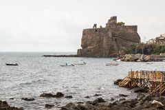 Ruins of the Norman castle in Aci Castello, Sicily island. Italy Royalty Free Stock Photography
