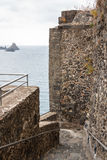 Ruins of the Norman castle in Aci Castello, Sicily island. Italy Royalty Free Stock Image