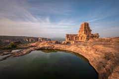 Ruins of the north fort at Badami stock photo