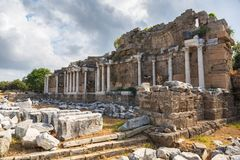 Ruins of Nymphaion in Side, Turkey royalty free stock images