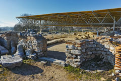Ruins of octagon church in the archeological area of ancient Philippi, Greece Stock Photo