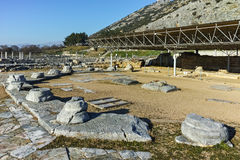 Ruins of octagon church in the archeological area of ancient Philippi, Greece Royalty Free Stock Photos