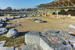 Ruins of octagon church in the archeological area of ancient Philippi, Greece Stock Photography