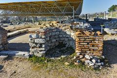 Ruins of octagon church in the archeological area of ancient Philippi, Greece Royalty Free Stock Photography