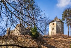 Ruins of Ojcow castle in Poland Stock Images