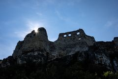 Ruins of old abandoned castle in slovakia. Ruins of old abandoned castle on the cliff with bricks and stone. architecture details in Slovakia royalty free stock image
