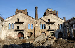 Ruins of old abandoned plant with gas furnace chimney,Odessa,Ukraine Stock Image