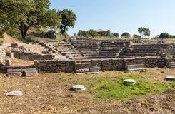 Ruins of old amphitheater in Troy Stock Photo