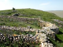 Ruins of the old antic greek town Argamum (Orgame). Argamum (Orgamè, Argamon, Orgame) is an arheological site located in est part of the Tulcea county, near the Royalty Free Stock Photos